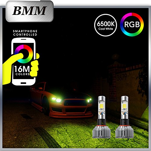 BMM H4 2in1 LED Headlight Bulb Kit Smartphone App-controled Bluetooth RGB Demon Eye + LED Headlight Conversion