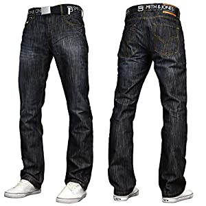 Men's Classic Regular Fit Straight Leg Belted Jeans