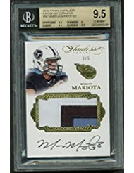 Marcus Mariota Signed LE 3/5 2016 Panini Flawless Patch Auto BGS 9.5 10 - Panini Certified - Football Slabbed Autographed Cards