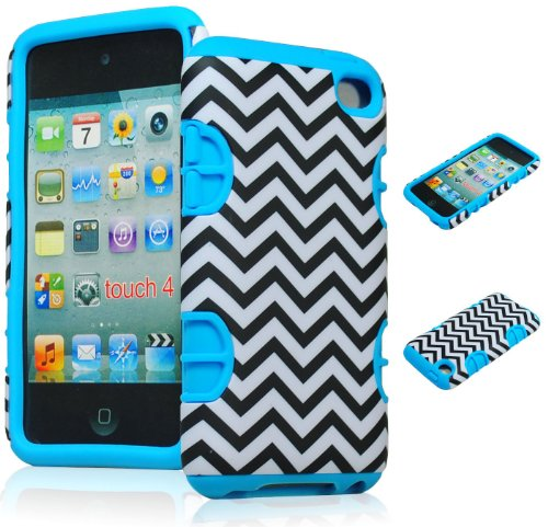 Bastex Hybrid Hard Case for Apple Ipod Touch 4, 4th Generation - Sky Blue Silicone with Black & White Chevron Pattern