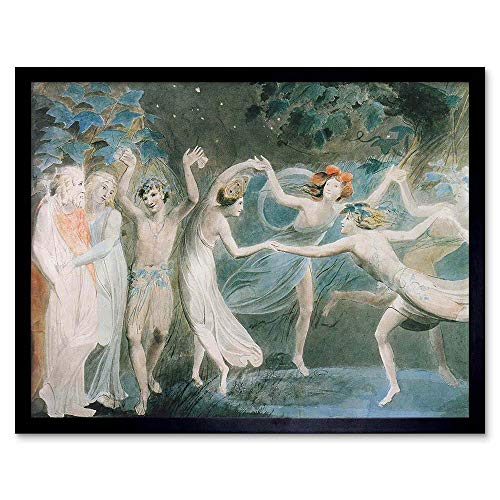 Wee Blue Coo William Blake Oberon Titania Puck with Fairies Dancing Painting Art Print Framed Poster Wall Decor 12x16 inch -