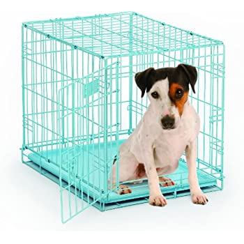 """MidWest 24"""" Blue iCrate Folding Metal Dog Crate w/ Divider Panel, Floor Protecting """"Roller"""" Feet & Leak Proof Plastic Tray; 24L x 18W x 19H Inches, Small Dog Breed"""