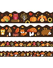 OIIKI 31ft Pumpkin Bulletin Border Stickers, Self-Adhesive Bulletin Board Borders, Blackboard Decoration Borders Trim, Classroom Bulletin Board Decoration for Home Classroom Wall Chalkboard (2 Set)