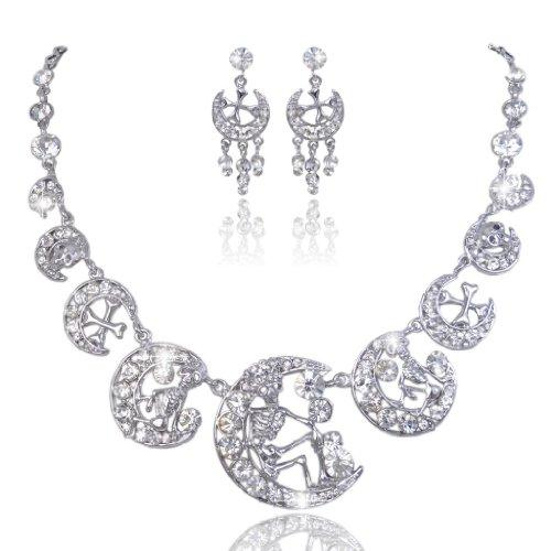 EVER FAITH Austrian Crystal Vintage Style Skull Cross Moon Necklace Earrings Set Clear (Clear Austrian Crystal Cross)