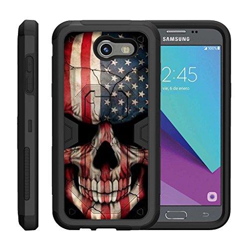 (TurtleArmor | Compatible with Samsung Galaxy J3 Emerge Case | J3 (2017) [Clip Caliber] Protective Armor Hard Impact Shockproof Case Kickstand Holster Belt Clip - US Flag Skull)