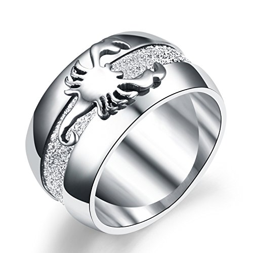Scorpion Symbol - LILILEO Jewelry 10mm Stainless Steel Simple Scrub Scorpion Ring For Men's Rings
