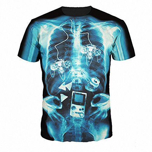 Girl's Printed X-ray Body T-shirt Crewneck Short Sleeve One Size (X-ray Printed)