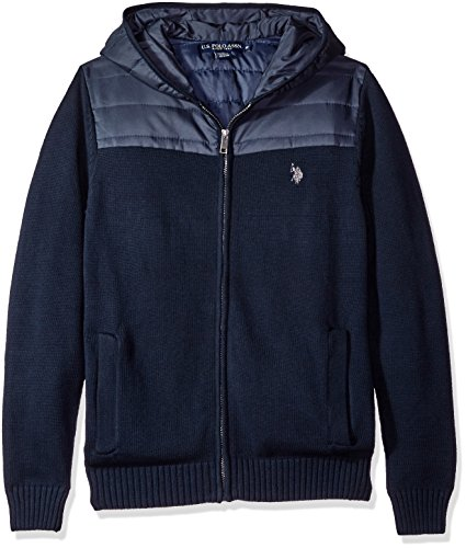 Quilted Hooded Zip Sweatshirt (U.S. Polo Assn. Men's Full Zip Hoodie Quilted Poly Details, Navy, Medium)