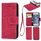 iphone 5 ca se - iPhone 5 5S SE Case, Wallet Case PU Leather Cover Oil Wax Elephant Pattern Flip Case TPU Cover Magnetic Detachable Wallet Credit Card Slots Hand Strap for iPhone 5 5S SE Hot Pink