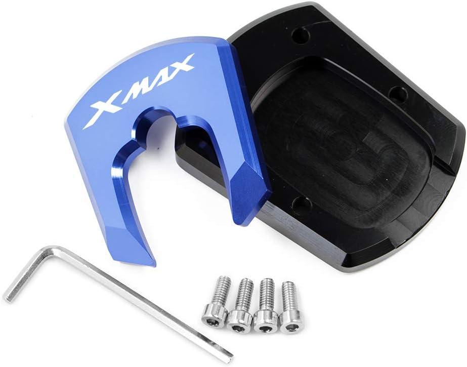 Motorrad Seitenst/änder Unterst/ützung Vergr/ö/ßern Fu/ß-Verbreiterung St/änder Platte Teller Pad CNC-gefr/ästem Aluminium f/ür Yamaha X-MAX XMAX 300 2017 2018