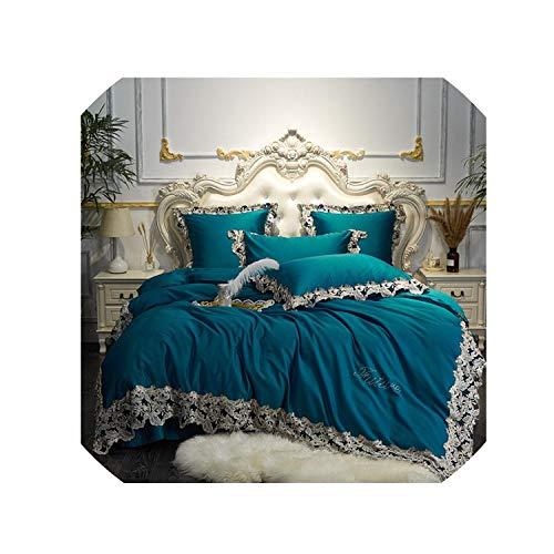 (Luxury Pink Blue Wine Red Cotton Bedding Set Queen King Lace Duvet Cover Bed Sheet/Linen Pillowcases Decorative Pillow,3,Queen 4Pcs)