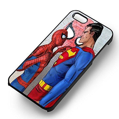 Unique Superman vs. Spiderman pour Coque Iphone 5 or Coque Iphone 5S or Coque Iphone 5SE Case (Noir Boîtier en plastique dur) B1T8ET