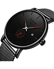 LIGE Mens Watches Waterproof Chronograph Watches,Military Analogue Quartz Luminous Watches, Fashion Leather Strap Outdoor Large Dial Black Watch…