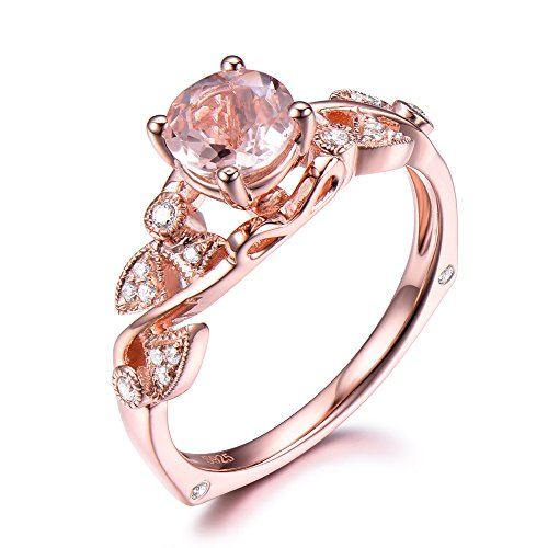 6.5mm Round Cut Morganite CZ Diamond Rose Gold Plated Engagement Ring 925 Sterling Silver Antique Vintage by Milejewel Morganite Engagement Ring