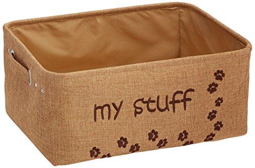 Jute Storage Bin with embroidered Paws & 'My Stuff (Khaki)