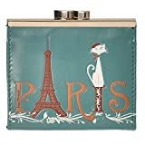 Shag Wear Women's Coin Purse Teal Paris Cat