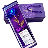 ShopAIS 24K Blue Rose with Gift Box and Carry Bag - Best Gift On Valentine's Day, Rose Day. Blue Dipped Rose with Gift Box