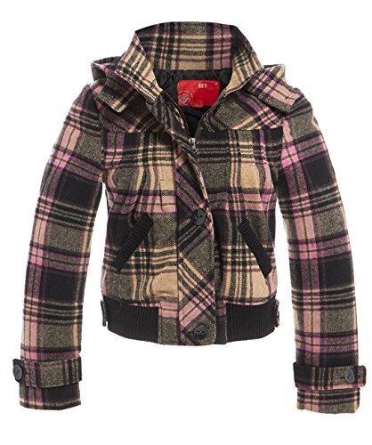 rose Rose Veste 14 laine femmes SS7 carreaux 8 mlange noir Tailles Noir capuche 6YwqIP