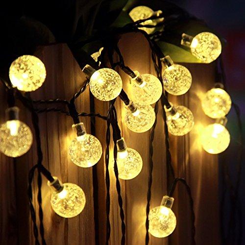 Outdoor Solar String Lights, ProGreen 25ft 40 LED Crystal Ball Globe Lights, Waterproof Solar ...