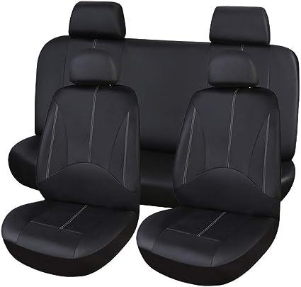 2pcs Car Seat Cover Full Set Front Rear Seat Cushion Mat Protector black+grey
