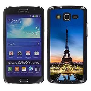 Be Good Phone Accessory // Dura Cáscara cubierta Protectora Caso Carcasa Funda de Protección para Samsung Galaxy Grand 2 SM-G7102 SM-G7105 // Tour D'Eifel Tower Sunset France