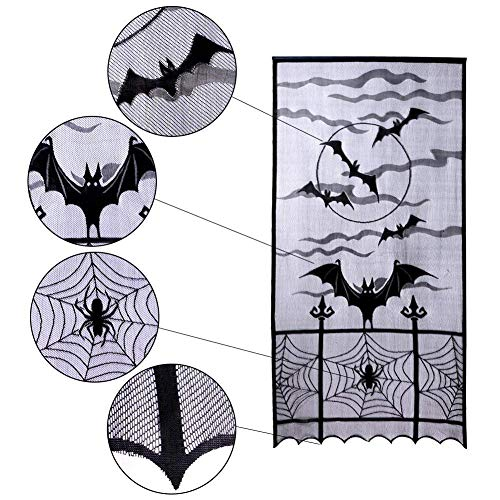 BEALIFE Window Curtain, 40x84inch 1pcs Halloween Lace Black Bats Spooky Spider Web Door Curtain Panel Décor for Halloween Party Indoor Window Decorations, BONUS Bloody Handprints and Body Scar Tattoos (Black Lace Curtain Panels)