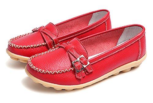 Multicolors Zeppa Scarpe 44 Slip con Comode Donna Loafers Estivi Comfort in 34 Mocassini Moda Nero Guida Pelle On Rosso da O8Uanq