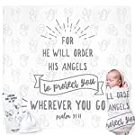 Christian-Baby-Swaddle-Bible-Quote-Blanket-and-Cap-Gift-Set-Integrated-Card-with-Welcoming-Prayer-for-Christening-Baptism-Shower-Sentimental-Receiving-Blanket-BoyGirl-Gift-Card-Not-Required