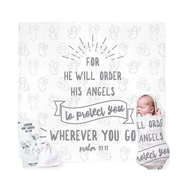 Christian Baby Swaddle Bible Quote Blanket and Cap Gift Set. Integrated Card, with Welcoming Prayer. for Christening, Baptism, Shower, Sentimental Receiving Blanket, Boy/Girl. Gift Card Not Required