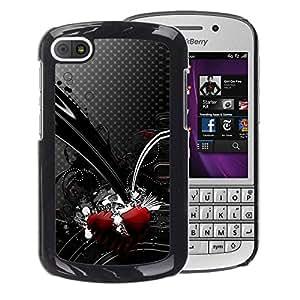 A-type Arte & diseño plástico duro Fundas Cover Cubre Hard Case Cover para BlackBerry Q10 (Black Heart Red Polka Dot Grey Abstract)