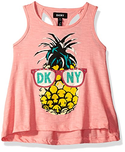 DKNY Big Girls' Tank Or Cami Shirt, Punky Pineapple Flamingo Pink, (Dkny Kids Clothing)