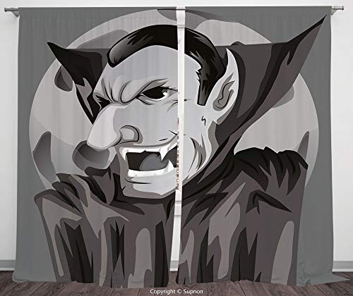 Rod Pocket Curtain Panel Polyester Translucent Curtains for Bedroom Living Room Dorm Kitchen Cafe/2 Curtain Panels/108 x 72 Inch/Vampire,Cartoon Style Count Dracula Angry Look Evil Expression Gothic H ()