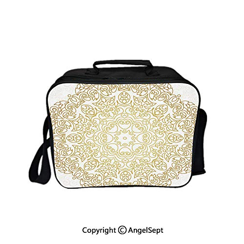 (Multifunctional Lunch Bags for Women Wide Open,Traditional Outline Decor on Swirled Backdrop Victorian Baroque Moroccan Gold Coconut 8.3inch,Lunch Box With Double Deck Cooler Tote Bag)