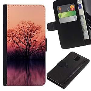 Planetar® Modelo colorido cuero carpeta tirón caso cubierta piel Holster Funda protección Para SAMSUNG Galaxy Note 3 III / N9000 / N9005 ( Lake trees )