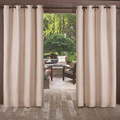 - Exclusive Home Curtains Delano Heavyweight Textured Indoor/Outdoor Window Curtain Panel Pair with Grommet Top, 54x84, Taupe, 2 Piece