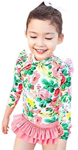 Baby Girls Three Pieces Floral Sun Protection Swimsuit Bikini Set