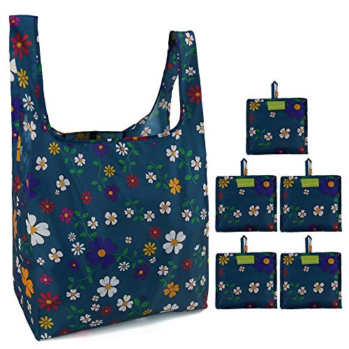 Reusable Grocery Bags Set, Grocery Tote Foldable into Attached Pouch, Ripstop Polyester Reusable Shopping Bags, Washable, Durable and Lightweight(Teal Blue Flowers)]()