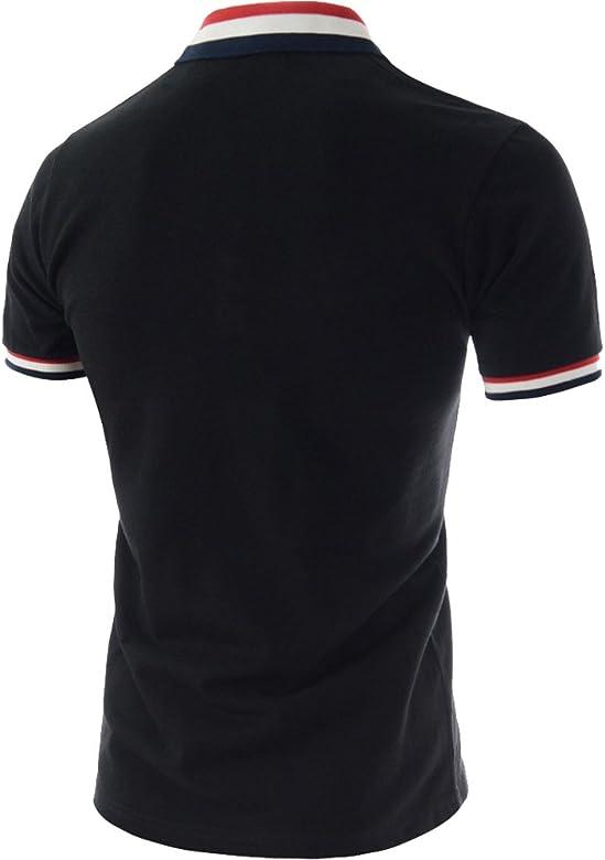 WNSY Men Short Sleeve Striped Color Blocks Stylish Stitch Polo Shirt