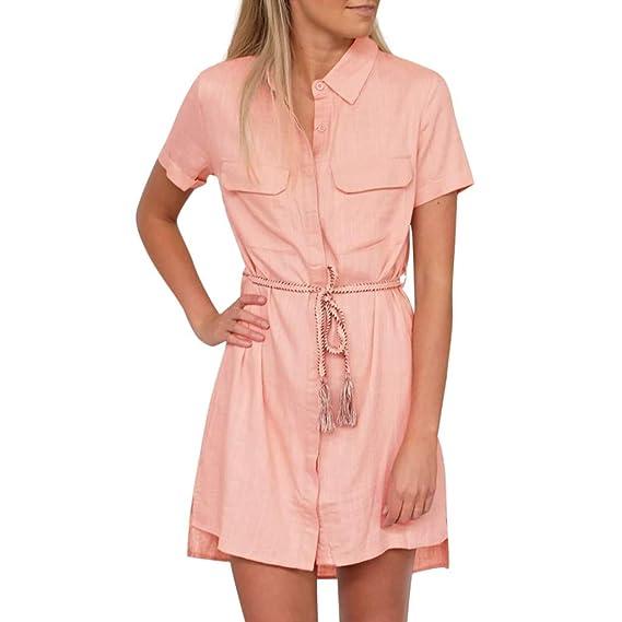 efe3aa2fece URIBAKY☀ Vestido Camisero Mujer Primavera Verano Vestidos Camisas Casual Mangas  3/4 V-Cuello Vestidos de Elegante Moda Mini Ropa Color Sólido Cinturón: ...