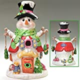 "Ceramic 11"" Electric Snowman Christmas Down Home - NEW (Black Hat)"