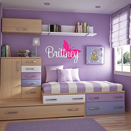 Name Wall Decal - Nursery Wall Decal - Teen Name Wall Decals - Personalized Wall Decals Brittney Butterfly