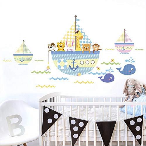 shifeii Cartoon Animal Pirate Ship Boat PVC Wall Sticker for Kids Rooms Wall Decor Room Waterproof Bathroom Decoration ()