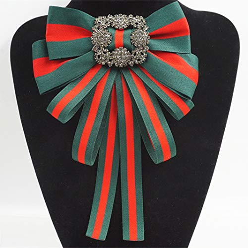 - Brooch Fabric Bowknot Costume Brooches Women Jewelry Beads Accessories (Green)
