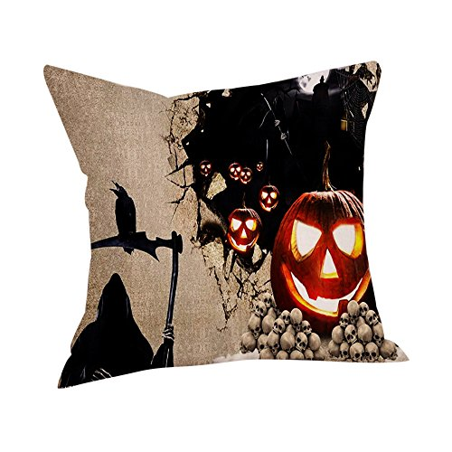 Xchenda Throw Pillow Case Soft Cushion Cover Cartoon Cute Happy Halloween Ghost Corpse Bride Horror Newspaper Story Linen Set (A, 1PC) for $<!--$0.83-->