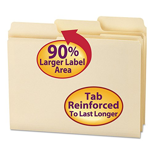 (Smead 10395 SuperTab Guide Height Reinforced Folders Top Tab Letter Manila 100/Box)