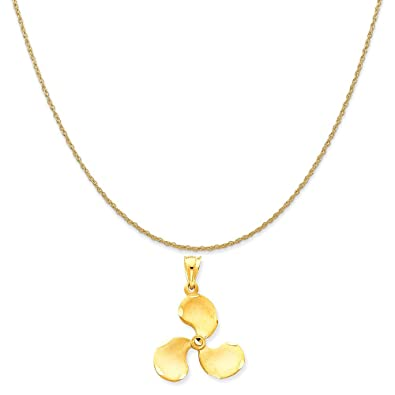 Amazon 14k yellow gold propeller pendant on a 14k yellow gold 14k yellow gold propeller pendant on a 14k yellow gold rope chain necklace 16quot mozeypictures Gallery