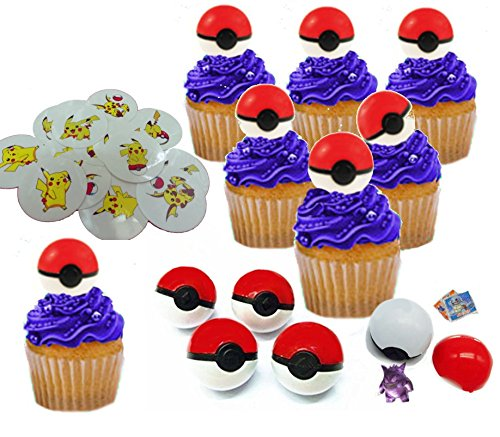 Cupcake Toppers With Surprise Toy Figure Hidden Inside And Pikachu Tattoos by Nelso Toys & Co.