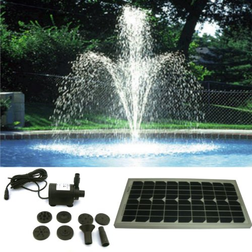 pk green solar powered fountain pond pump water feature tube head garden outdoors twisted ball w lights amazon for