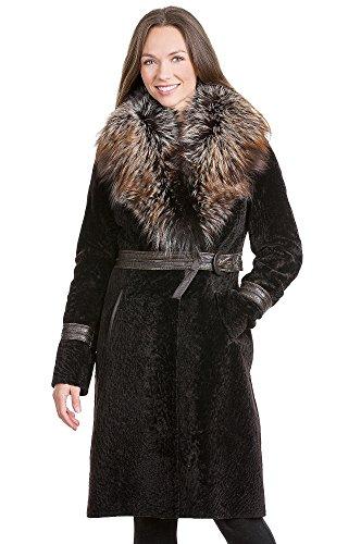 Rochelle Astrakhan Lamb Coat with Silver Fox Fur Collar