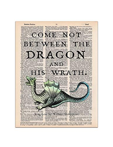 Dragon Art, King Lear Shakespeare Quote, Dictionary Page Art Print, 8x11 UNFRAMED
